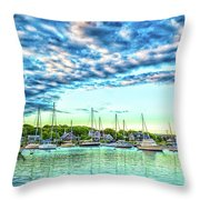 Falmouth Harbor Cape Cod Throw Pillow