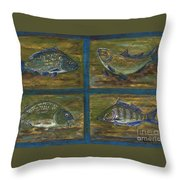 4 Fishes Throw Pillow