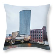 Grand Rapids Michigan City Skyline And Street Scenes Throw Pillow