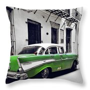 Havana, Cuba - Classic Car Throw Pillow