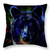 head of mighty brown bear, oil painting on canvas and graphic collage. Eye contact. Throw Pillow