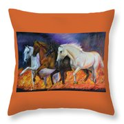 4 Horses Of The Apocalypse Throw Pillow