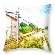 House On The Railway Throw Pillow
