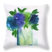 4 Hydrangeas Throw Pillow