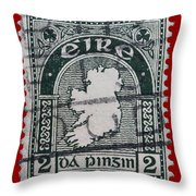 Irish Postage Stamp Throw Pillow