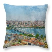 Istanbul Turkey Cityscape Digital Watercolor On Photograph Throw Pillow