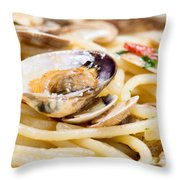 Italian Spaghetti And Clams Made In Naples Throw Pillow