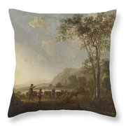 Landscape With Herdsmen And Cattle Throw Pillow