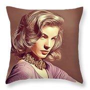 Lauren Bacall, Vintage Actress Throw Pillow