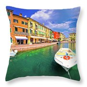 Lazise Colorful Harbor And Boats Panoramic View Throw Pillow