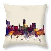 Leicester England Skyline Throw Pillow