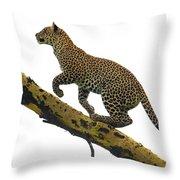 Leopard Panthera Pardus Climbing Throw Pillow