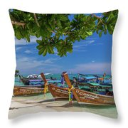Long-tail Boats, The Andaman Sea And Hills In Ko Phi Phi Don, Th Throw Pillow
