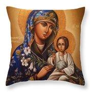 Madonna Enthroned Religious Art Throw Pillow