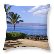 Makena, Secret Beach Throw Pillow