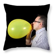 Man Inflating Balloon Throw Pillow