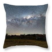 Milky Way Over A Farm Shed Throw Pillow