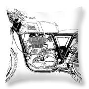 Motorcycle Art, Black And White Throw Pillow