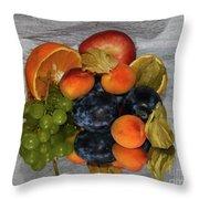 Multicolor Fruits Throw Pillow