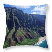 Na Pali Coast Aerial Throw Pillow