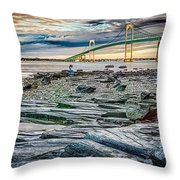 Newport Bridge At Sunset With Dramatic Sky Throw Pillow