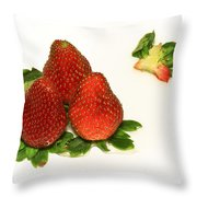 4... No... 3 Strawberries Throw Pillow