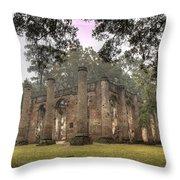 Old Sheldon Church Ruins Throw Pillow