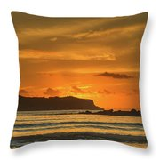 Orange Sunrise Seascape And Silhouettes Throw Pillow