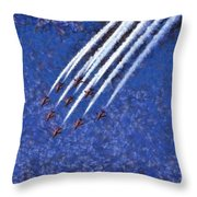 Painting Of Red Arrows Aerobatic Team Throw Pillow