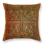 4 Panels Buddhas Wall Carving With Antique Filter Throw Pillow