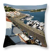 panoramic town 1 - Panorama of Port Mahon Menorca Throw Pillow