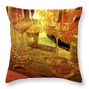 Party Setting With Colorful Bokeh Background Throw Pillow