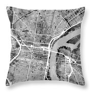 Philadelphia Pennsylvania Street Map Throw Pillow