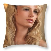 Portrait Of A Beautiful Young Woman Throw Pillow by Oleksiy Maksymenko