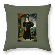 Portrait Of A Young Lady With Flower Basket Throw Pillow
