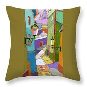 Prague Old Street Throw Pillow