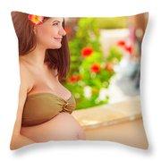 Pregnant Woman On The Beach Throw Pillow