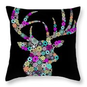 Reindeer Design By Snowflakes Throw Pillow
