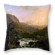 River In The Ardennes At Sunset Throw Pillow