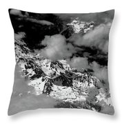 Rocky Mountains In Colorado With Snow Aerial Black And White Throw Pillow