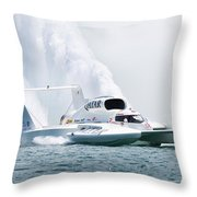 Roostertail From Racing Hydroplanes Boats On The Detroit River For Gold Cup Throw Pillow