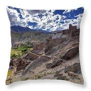 Ruins At Basgo Monastery Leh Ladakh Jammu And Kashmir India Throw Pillow