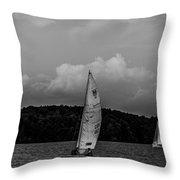 Sail Boat On Large Lake Throw Pillow