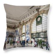 Sao Bento Railway Station Landmark Interior In Porto Portugal Throw Pillow