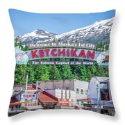 Scenery Around Alaskan Town Of Ketchikan Throw Pillow