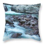 Slow Shutter Photo Of Figarella River At Bonifatu In Corsica Throw Pillow