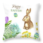 Spring Rabbit And Flowers Throw Pillow