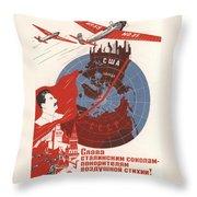 Stalin Soviet Propaganda Poster Throw Pillow