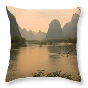 Sunset On The Li River Throw Pillow