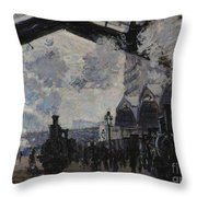 The Gare St Lazare Throw Pillow
